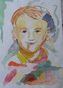 Bunt, Aquarellmalerei, Junge, Aquarell