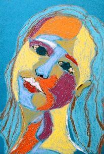 Mädchen, Grün, Rot, Pastellmalerei