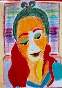 Fenster, Pastellmalerei, Mädchen, Zeichnungen