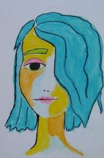Mädchen, Rosa, Blau, Aquarellmalerei