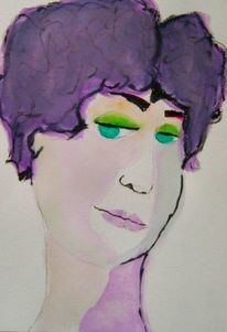 Portrait, Erröten, Aquarell,