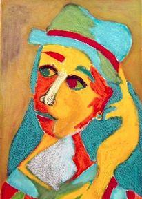 Pastellmalerei, Rot, Mischtechnik, Blau