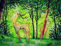 Fantasie, Frühling, Aquarellmalerei, Hirsch