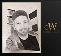 Weiß, Schwarz, Portrait, Bleistiftzeichnung