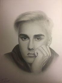 Portrait, Junge, Schwarz, Grau