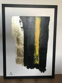 Abstrakt, Farben, Blattgold, Acrylmalerei