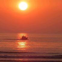 Strand, Rot, Frankreich, Sonnenuntergang