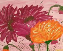 Orange, Grün, Blumen, Braun