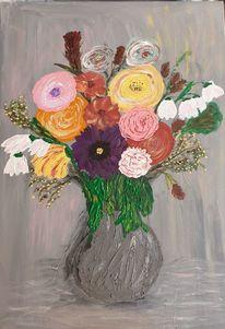 Blumen, Orange, Blätter, Vase