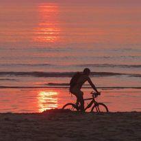 Meer, Sand, Sonnenuntergang, Rot