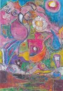 Papagei, Mond, Nacht, Malerei