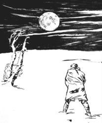 Mond, Mann, Schnee, Zeichnungen