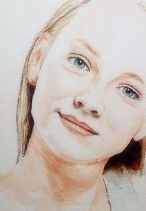 Mädchen, Gesicht, Portrait, Aquarell