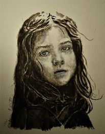 Monochrom, Mädchen, Portrait, Aquarell