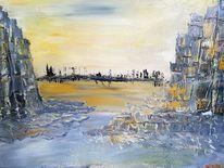 Felsen, Wüste, Stadt, Malerei