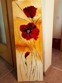 Acrylmalerei, Blumen, Mohnblumen, Malerei