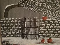 Garten, Winterlandschaft, Apfel, Malerei