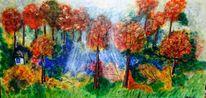 Wald, Lichtung, Fantasie, Malerei