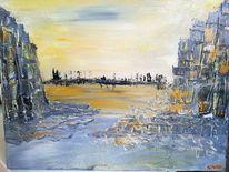Wüste, Stadt, Felsen, Malerei