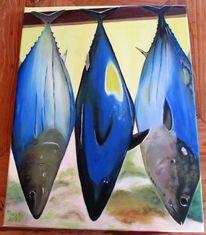 Thunfisch, Markt, Fisch, Malerei