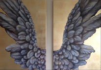 Gold, Engel, Acryl acrylmalerei, Modern art