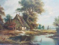 Gedeckt, Landschaft, Unbekannter maler, Haus