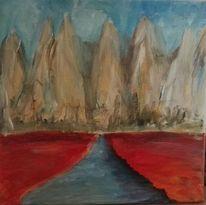 Fluss, Abstrakt, Berge, Malerei