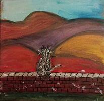 Berge, Katze, Malerei, Fernweh