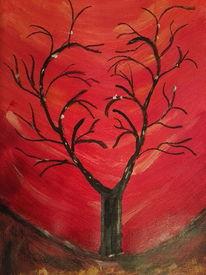Rot, Herz, Baum, Malerei