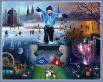 Kinder, Fantasie, Malerei, Stadt