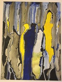 Abstrakt, Durchbruch, Gelb, Blau