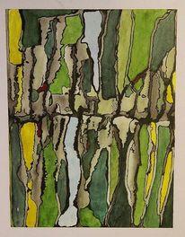 Abstrakt, Durchbruch, Grün, Gelb