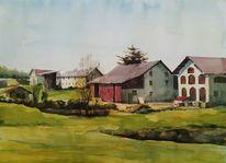 Pleinair, Bauernhof, Aquarellmalerei, Aquarell