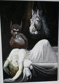 Ölmalerei, Fantasie, Traum, Skurril