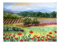 Landschaft, Malerei, Toskana, Pastellmalerei