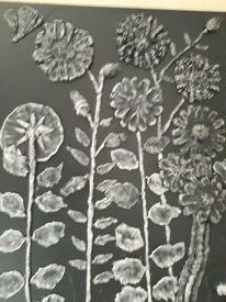 Modern art, Schwar, Blumen, Mischtechnik
