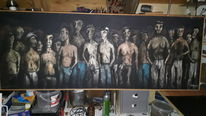 Schwarz, Menschen, Licht, Malerei