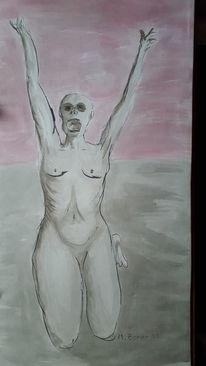 Menschen, Modern, Schwarz, Malerei