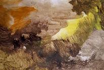 Braun, Gelb, Abstrakt, Malerei