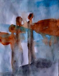 Braun, Engel, Blau, Malerei