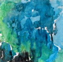 Landschaft, Blau, Grün, Malerei