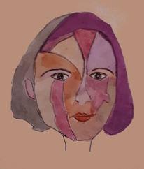 Gesicht, Mädchen, Bunt, Malerei