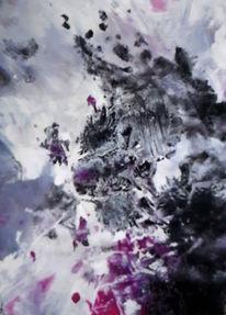 Abstrakt, Schwarz, Lila, Malerei