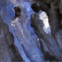 Schwarz, Schweben, Blau, Malerei