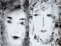 Acrylmalerei, Schwesterm, Schwarz, Weiß