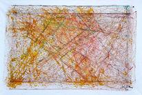 Abstrakt, Linie, Rot, Mischtechnik