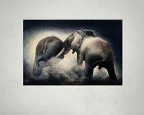 Tierwelt, Acrylmalerei, Elefant, Malerei