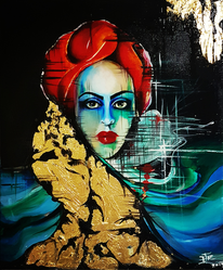 Frau, Acrylmalerei, Schönheit, Gold