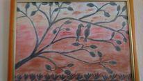 Vogel, Pastellmalerei, Baum, Aquarellmalerei