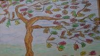 Wind, Pastellmalerei, Baum, Aquarellmalerei